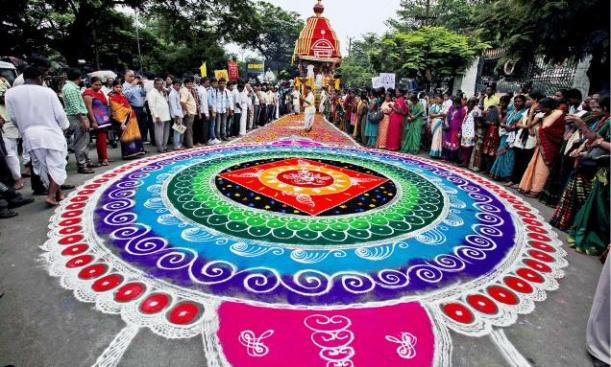 Rangoli On The Path of Sacred Chariot