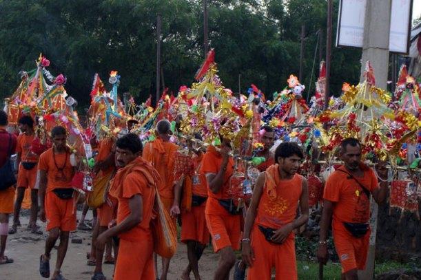 Kanwarias With Decorated Kanwars
